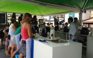 Masterclass en el stand en playa de Sitges